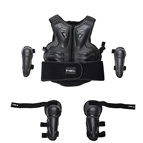 AKAUFENG Motorrad Protektorenjacke mit Knieschoner und Armschützer Kind Protektorenhemd Anzug MTB Protektoren Schutzkleidung Schutzjacke