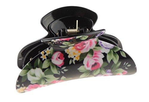 Damen Large 9cm Floral English Rose Garden schwarz Haar Haarkralle