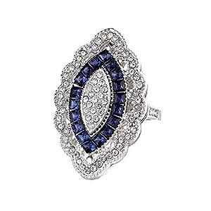 YSoutstripdu Eleganter Ring mit Strasssteinen im Marquiseschliff