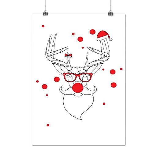 Rentier Rudolf Weihnachten Geek Urlaub Mattes/Glänzende Plakat A4 (30cm x 21cm) | (Kostüm Männer Ideen Geek)