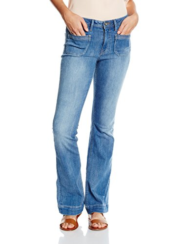 edc by ESPRIT Damen Boot-Cut Jeanshose mit hoher Leibhöhe, Gr. W28/L32, Blau (BLUE MEDIUM WASH 902)