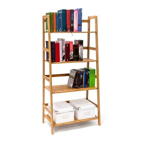 Bad-boden-schrank (Relaxdays Bücherregal aus Bambus mit 4 Ablagen HxBxT: ca. 120 x 57 x 31 cm Regal für Bücher in Leiterform Standregal mit Durschubsicherung als Bücherschrank und Büroregal Aktenregal aus Holz, natur)