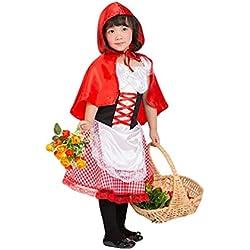 NiSeng Cappuccetto Rosso Costume Bambini Ragazze Costumi vestito e mantella con cappuccio Costumes Halloween /Carnevale rosso S(Altezze 95-110cm)