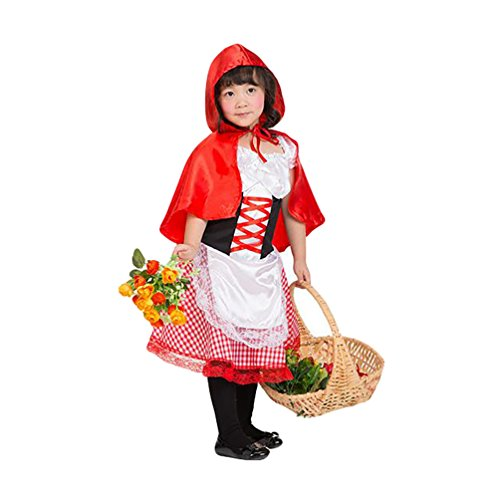 NiSeng Disfraz de Caperucita Roja infantil Disfraces Halloween Niños Carnaval Cosplay Lindo Disfraz de Cumpleaños Fiesta Rojo S(Altura 95-110cm)