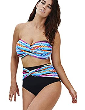 Nuovo donna Plus Dimensioni colorato vita alta bikini Swimwear Beachwear estate taglia XL UK 14EU 42