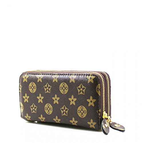 ladies-faux-leather-double-zip-long-coin-purse-womens-wallet-card-holder-gold-star