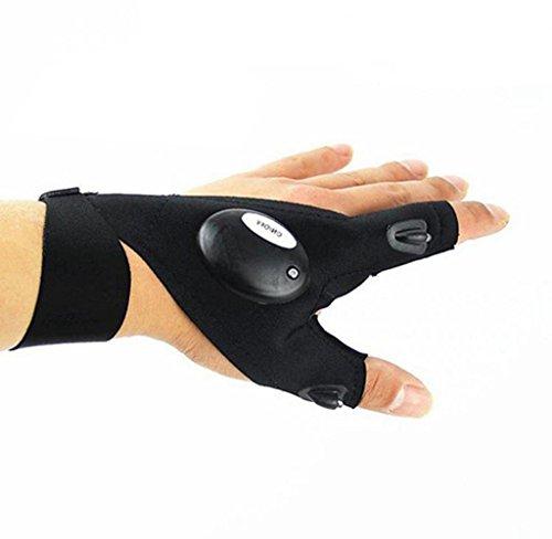 Covermason Outdoor Angeln Handschuhe mit LED-Licht Nachtangeln Handschuhe (Schwarz Linke Hand)