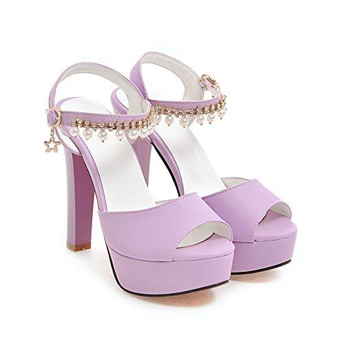 Sommer Damen Mode Sandalen komfortable High Heels, 34 Pulver High Heel 9 cm purple-12 cm high heels