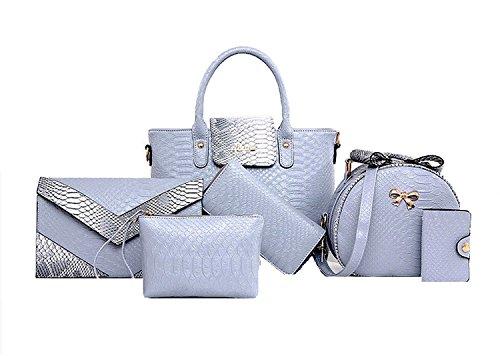 Di Grazia Women\'s 6 in 1 Combo Of Sling Bag , Satchel, Clutch, Wallet, Card Holder & Handbag(Melange Grey, Grey-Croc-6in1-Handbag)
