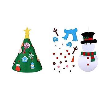 Doolland Árbol de Navidad DIY+Falda de árbol de Navidad de Fieltro,Navidad Regalo 3 pies árbol del Fieltro Decorativo 18psc para la de Navidad Decoración