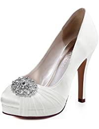 Kevin Fashion mz1257 Ladies Peep Toe Stiletto satén novia boda formal fiesta noche Prom sandalias, color Beige, talla 38