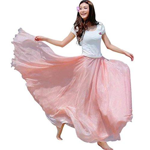 Damen Rock❀Dragon868 2018 Frauen Mode elastische Taille Chiffon Lange Maxi Strandkleid Elegante Volltonfarbe Rock (Rosa, Freie Größe) -