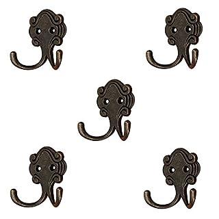 Aikesi 5pcs Hanging hook Retro Creative Double Prong Zinc alloy Bath Hooks Wall Hanger with Screws Bronze color