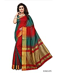 BikAw Sarees Zari Work MULTICOLORED Kanjeevaram Silk Fashion Party Wear Women's Saree/Sari With Blouse Piece.
