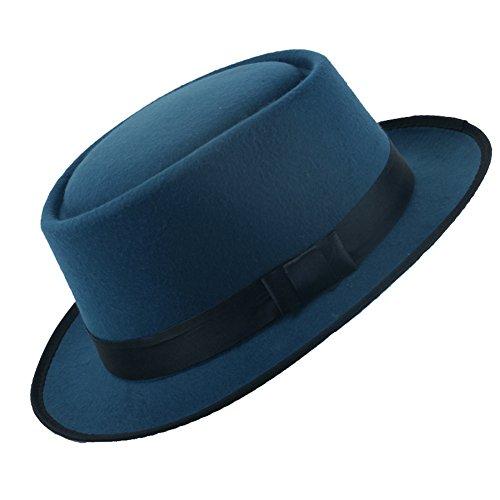 sche Art Kurzer Brim Royal Blau Fedora Hut Cap für Unisex (Billig Hüte)
