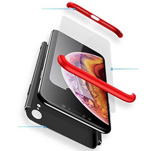 Custodia Samsung Galaxy A7 2018 Case Fanxwu 3 in 1 Combinazione [Pellicola Vetro Temperato] 360 Gradi di Protezione Completa Cover Antiurto Rubber Cassa - Rosso e Nero