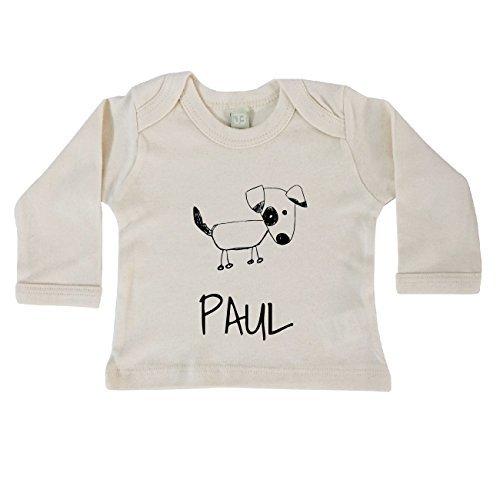 JOllipets Baby Kinder Langarm T-Shirt - PAUL - 100% BIO ORGANISCH - Design: Hund – Grösse: 12-18 (Langarm Tee Bio-baumwolle)