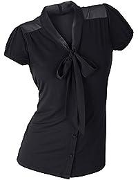 b8592978deef Damen Shirt Bluse Schwarz mit schöner Ausschnitt Lösung Schleifen Band  Viskose Größe 36 bis ...