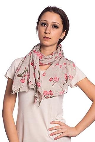 Abbino 0804-8 Schal Tuch Damen - Made in Italy - 7 Farben - Frühjahr Sommer Herbst Damenschal Seidenschal Baumwolle Seide Sale Sexy Stilvoll Lang Weich Lässig Freizeit Kirschen - Beige