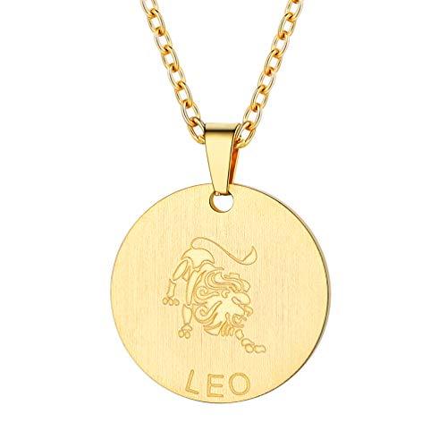 PROSTEEL 18k vergoldet Sternzeichen Löwe Collier Damen Medaille Anhänger Halskette Astrologische Münze mit 55cm Rolokette Geburtstag Jahrestag
