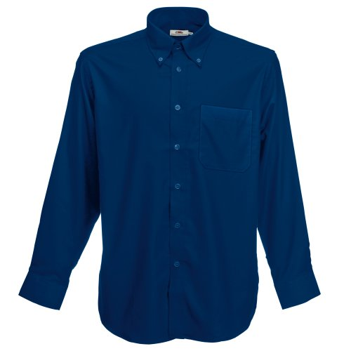 Fruit Of The Loom Oxford Hemd für Männer, langarm Navy