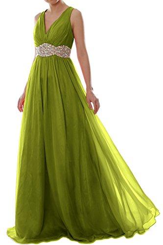 MACloth Women Straps V Neck Chiffon Long Prom Dress Wedding Formal Ball Gown Olivgrün