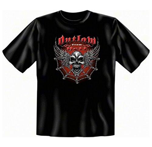 Metal Punk Totenkopf Halloween T-shirt Übergröße Outlaw from Hell Fb schwarz in 4XL (T-shirt Helles Geburtstag Geburtstag)