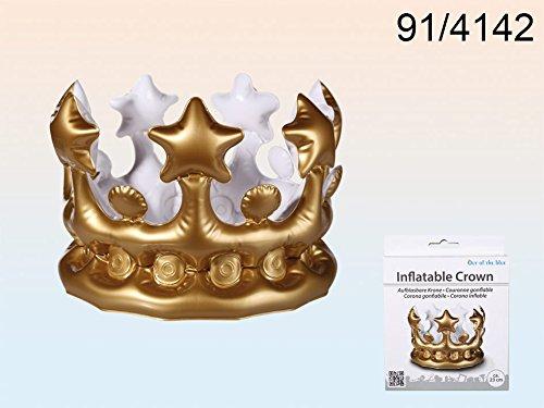 Aufblasbare goldene Krone ca. 23cm - Mottoparty Kinderparty König (Mcdonald Kostüm)