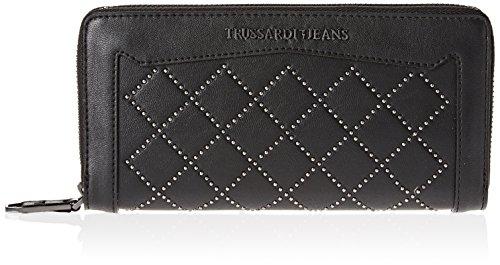 Trussardi Jeans Damen 75w00045-1y000053 Geldbörse, Schwarz (Nero), 21x10x3 cm (Jean-geldbörsen-beutel)