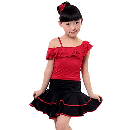 BOZEVON Kinder Latein Kleidung - Kinder Tanz Kostüme Mädchen Training Set schräge Schultern Latin Dance Kleidung,Rot,EU 110=Tag 120,120cm Empfohlene Höhe