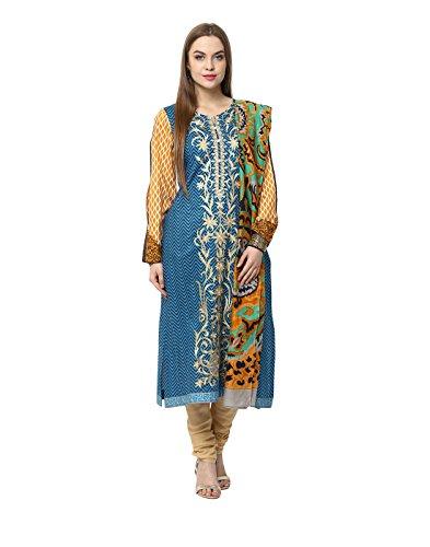 Yepme Nuzen Semi Stitched Pakistani Kurti - Blue & Yellow -- YPMRTS0395_Free...