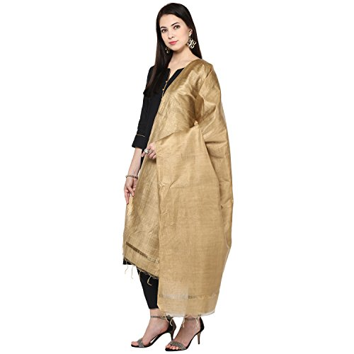 Dupatta Bazaar Women's Gold Cotton Silk Dupatta