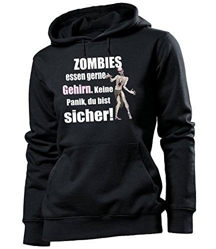 Zombies Essen gerne Gehirn 5127 Halloween Frauen Fun Hoodie Damen Kapuzen Pullover Sweatshirt Pulli mit Spruch Geschenk Ideen Schwarz XL
