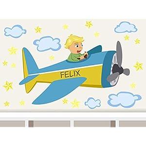 """Wandtattoo""""Flugzeug Junge"""" personalisierbarer Wandsticker für Kinderzimmer Türschild"""
