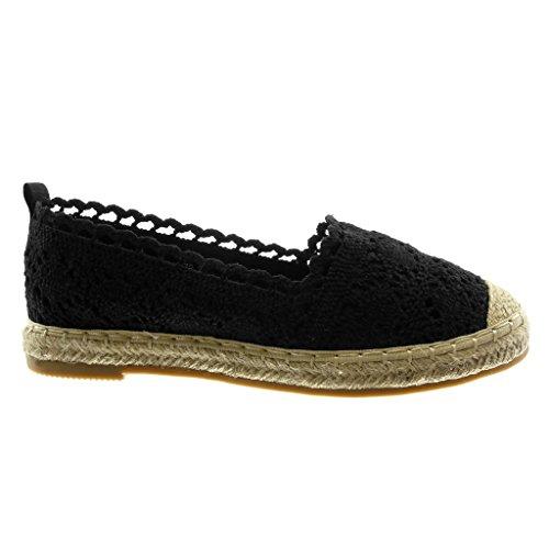 Angkorly Damen Schuhe Espadrilles - Slip-on - Spitze - Bestickt - Seil Blockabsatz 2 cm Schwarz