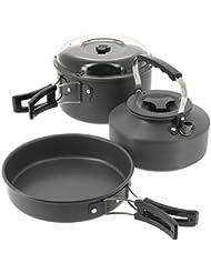 NGT Unisexe Ensemble de cuisson bouilloire Pot avec couvercle Poêle à frire pour pêche à la carpe, camping, mat, Taille unique