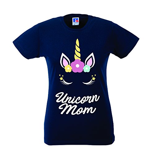 Babloo T-Shirt Mother s Day Donna Idea Regalo Festa della Mamma Unicorn Mom  Blu L 53565048a