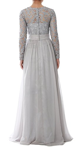 MACloth Women Long Sleeve Lace Chiffon Mother of Bride Dress Formal Evening Gown Olive Green