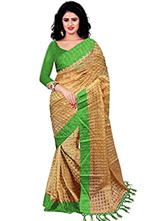 Trendz Women's Cotton Silk Saree With Blouse Piece (Tz_Green_Art_Green)