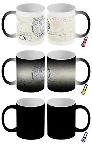 LEotiE SINCE 2004 Zaubertasse Farbwechseltasse Kaffeebecher Tasse Becher Latte Cappuccino Espresso Vogel Arten Eule Liebe