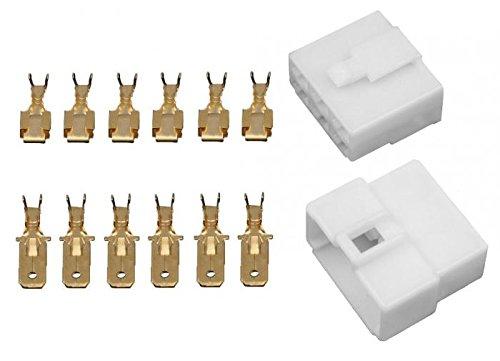 10x Gehäuse 6 polig Stecker 6,3mm Flachsteckhülsen Flachstecker Steckergehäuse