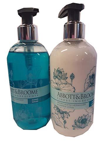 Abbott&Broome Handwash+Handlotion Set je 1 x 300 ml Spender Reines Gletscherwasser und zarter Lotus - Aquamarin Seife