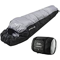 Andes Nevado 400 Mummy Sleeping Bag Warm 400GSM Filling - Compression Carry Bag Included - Ideal For Camping, Hiking, Backpacking, DoE Awards, Festivals Waterproof