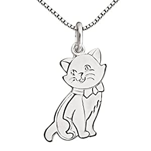 CLEVER SCHMUCK Silberner Kinder Anhänger Katze 16 x 10 mm flach, matt und glänzend & Kette Venezia 40 cm Sterling Silber 925