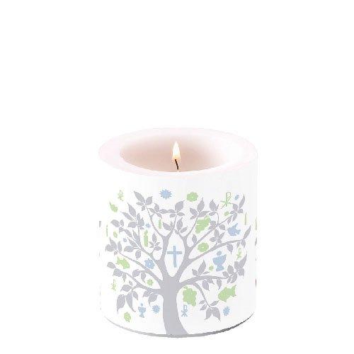 Ambiente Luxury Paper Products 2X dekorative Stumpenkerzen Kommunion Blau 10x7,5cm Kerze Konfirmation Taufe Tischdeko Kerzendeko