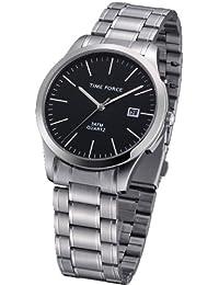 Reloj TIME FORCE de caballero. Calendario. Acero. Cadena. Esfera negra. TF-3196M01M