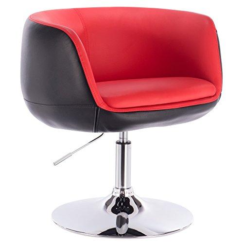 Woltu® bh42rsw-1 poltrona da bar sedia girevole sgabello cucina sofa poltroncina con schienale braccioli ecopelle acciaio cromato altezza regolabile moderno 1 pezzo rosso+nero