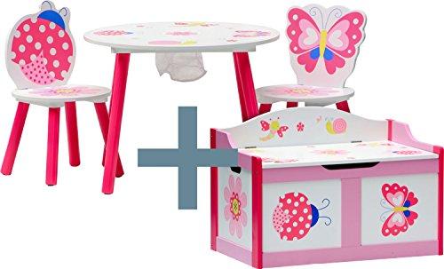 Butterfly-tisch-stuhl-set (IB-Style - Kindersitz- und Spielgruppe PAPILLON | 6 Kombinationen | 4-er Set: 1 Tisch + 2 Stühle + 1 Truhenbank - Stuhl Truhenbank Kindermöbel Tisch Kindertisch Kinderstuhl Tafel Standtafel Kinderregal)