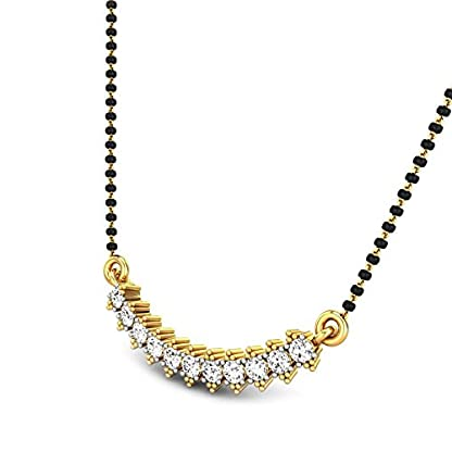 Candere By Kalyan Jewellers Chinmayi 14k Yellow Gold and Diamond Mangalsutra Necklace for Women