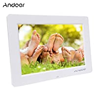 إطار صورة رقمية، Andoer 13 بوصة شاشة عريضة HD LED إطار صورة رقمي عالي الدقة 1366 * 768 إطار صورة إلكتروني مع جهاز تحكم عن بعد متعدد الوظائف بما في ذلك ساعة LED